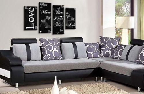 Love Quote Powder Grey Canvas Wall Art Picture Live Laugh Print 4 Split 112 cm