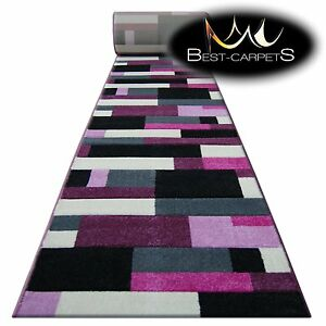 CHEMIN-DE-TABLE-Tapis-Pilly-8403-noir-violet-moderne-Escaliers-largeur-70-120