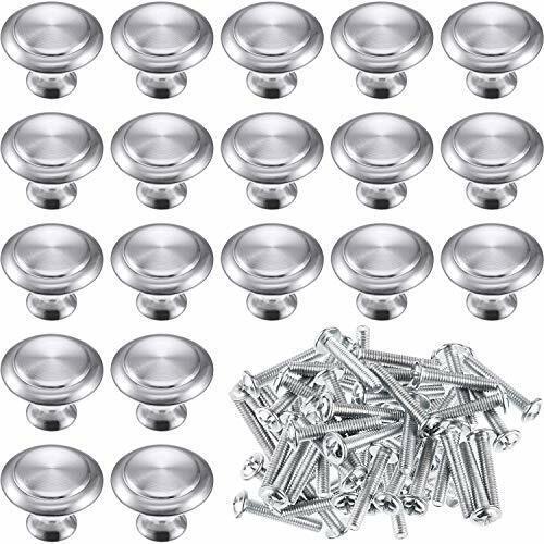 24 Pack Silver Cabinet Knobs Kitchen Round Drawer Dresser Handles Kitchen