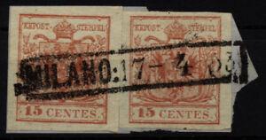 LOMBARDEI-VENETIEN 1850 2*15C, auf Briefstück, HP, Type III. MILANO/53 Stempel