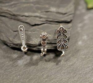 Konvolut Drei Einzelne 925 Silber Ohrringe Mit Markasitbesatz Ohrhänger Bastler