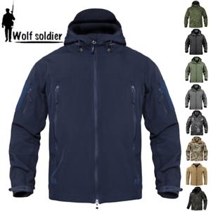 Windbreaker-Mens-Soft-Shell-Jacket-Tactical-Winter-Waterproof-Fleece-Coat-Hooded