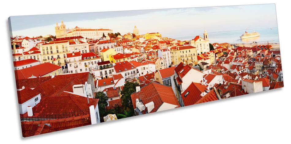 Lisbona SKYLINE Portogallo CANVAS Wall Art panoramico panoramico panoramico incorniciato stampa 6d42d8