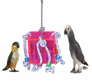 NEW-LAZYBONES-LARGE-ACRYLIC-PARROT-CAGE-TOY-BOX-WITH-ROPE-BEADS-AND-BELL-LB98