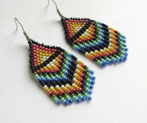 Fringe-Beaded-Earrings-Seed-Bead-earrings-rainbow-earrings-handmade-jewelry