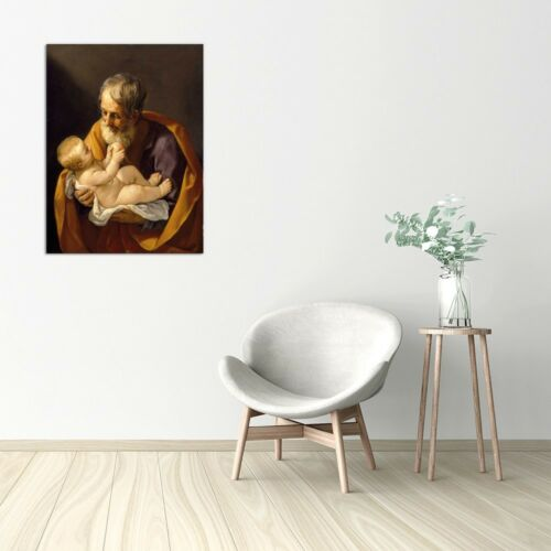 Quadro Stampa su pannello in legno mdf Reni Saint Joseph and the Christ Child