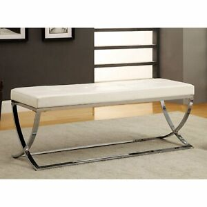 Details About Modern White Leather Bench Entry Hallway Living Room Bedroom Seat End Of Bed