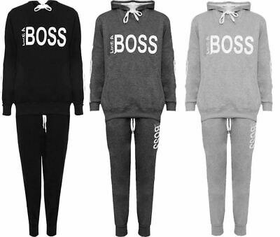 Womens Like A Boss Printed Tracksuit Ladies Jogging Sports Loungewear Suit