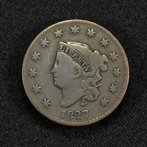 1827 1c CORONET HEAD LARGE CENT, FINE COIN LOT#Y465