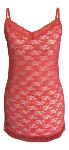 Ladies Womens Floral Lace Mesh Long V Neck Coral Pink Camisole Cami Vest sun Top