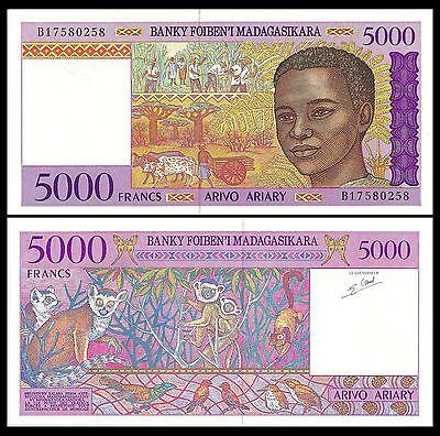 P-78b 5000 Lemurs UNC /> Boy 5,000 1995 Madagascar Francs ND