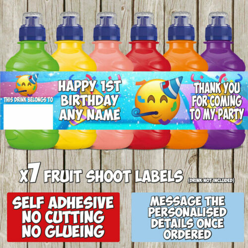 7 x Emoji Party Personalised Self Adhesive Fruit Shoot Label Wrapper F108