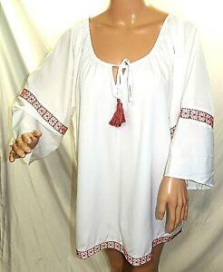 910ad4f896d Deja Bleu Women Plus Size 2xl 2x 3xl 3x White Gypsy Tunic Top Blouse ...