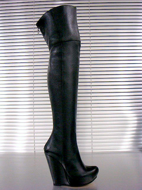 MORI ITALY BOOTS WEDGES NEW OVERKNEE HEELS BOOTS ITALY STIEFEL STIVALI LEATHER BLACK NERO 40 77cd1a