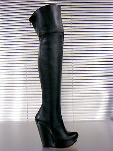 Nero Overknee 41 Boots Wedges Heels Italy Leather Stiefel New Mori Black Stivali qvFf1R
