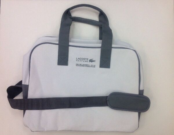 4996524422e5 NWT Lacoste Parfums White   Grey Duffle Weekender Travel Bag Brand New