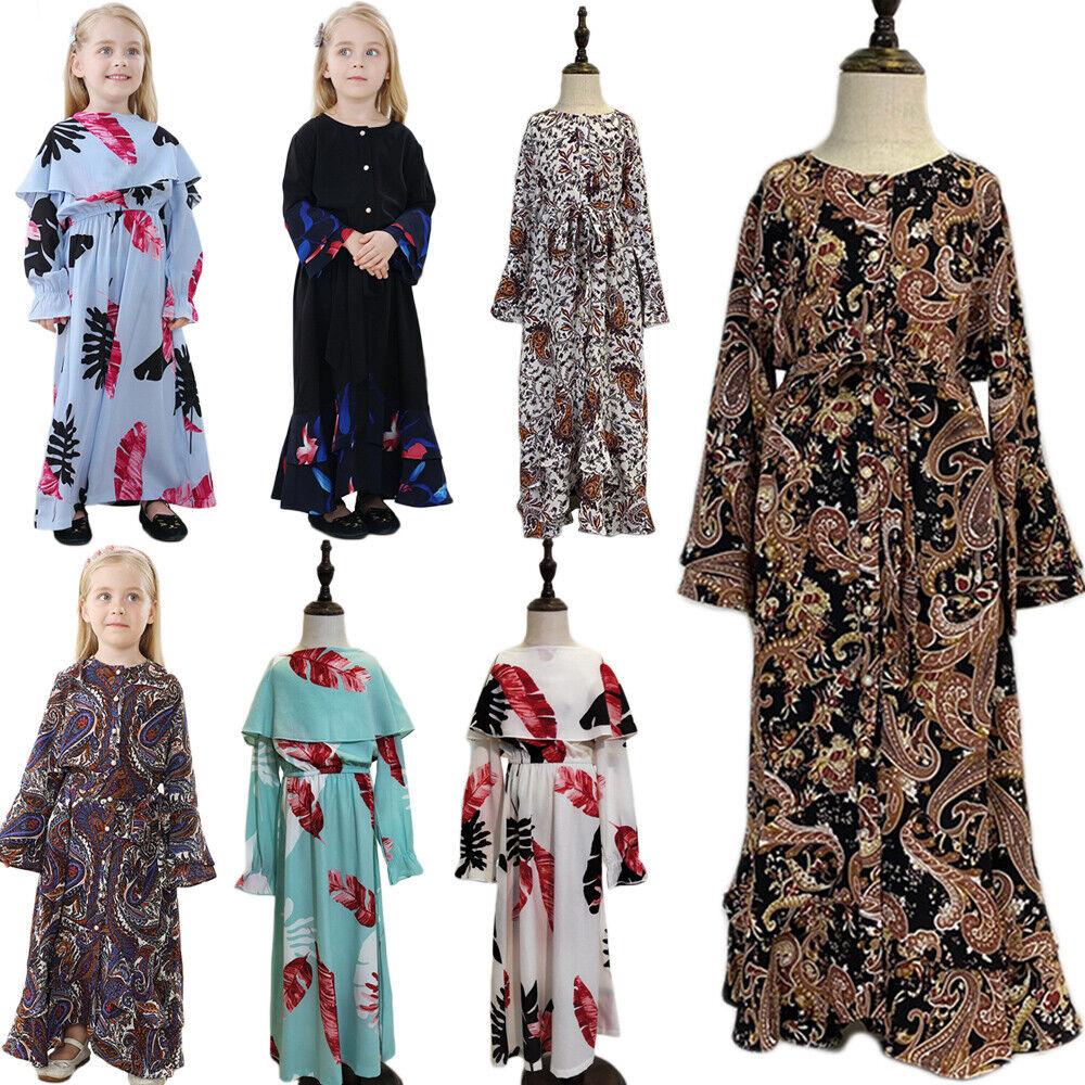 New Muslim Kids Girl Long Maxi Dress Set Hijab Abaya Kaftan Jilbab Islamic Arab