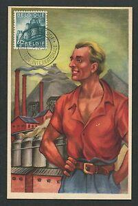 Belgique Mk 1954 Industrie Industry Maximum Carte Carte Maximum Card Mc Cm D7101 Blanc Pur Et Translucide