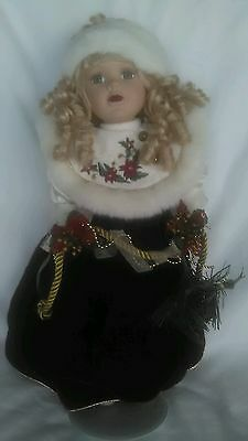 "Christmas Porcelain Doll ""Faith"" By Victorian Garden w/Clothing, Access. & Stand"