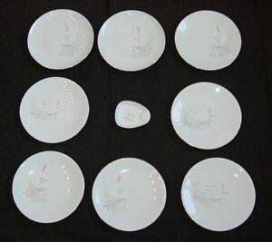 Bareuther-Konvolut-8-Teller-1-Aschenbecher-50er-60er-Jahre-Porzellan