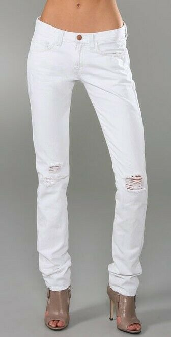 J BRAND White Ginza Slouchy Cigarette Jeans Size 25 Retail  270