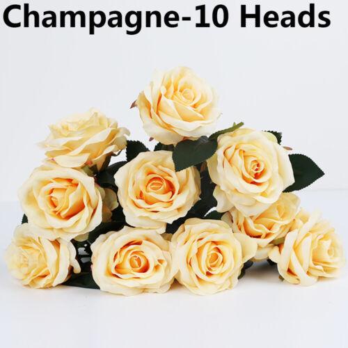 7//10 Heads Artificial Flowers Fake Roses Silk Bunch Bridal Bouquet Wedding Decor