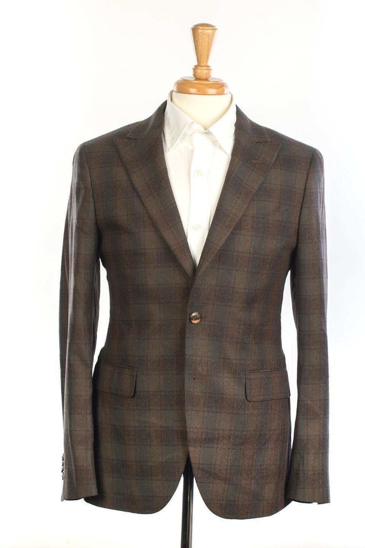 Boglioli NWT 'Sforza' Green Brown Plaid Silk Virgin Wool Sport Coat 48 IT 38 US