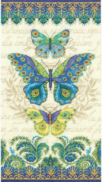 """Dimensions Peacock Butterflies Counted Cross Stitch Kit-8/""""X15/"""" 14 Count"""