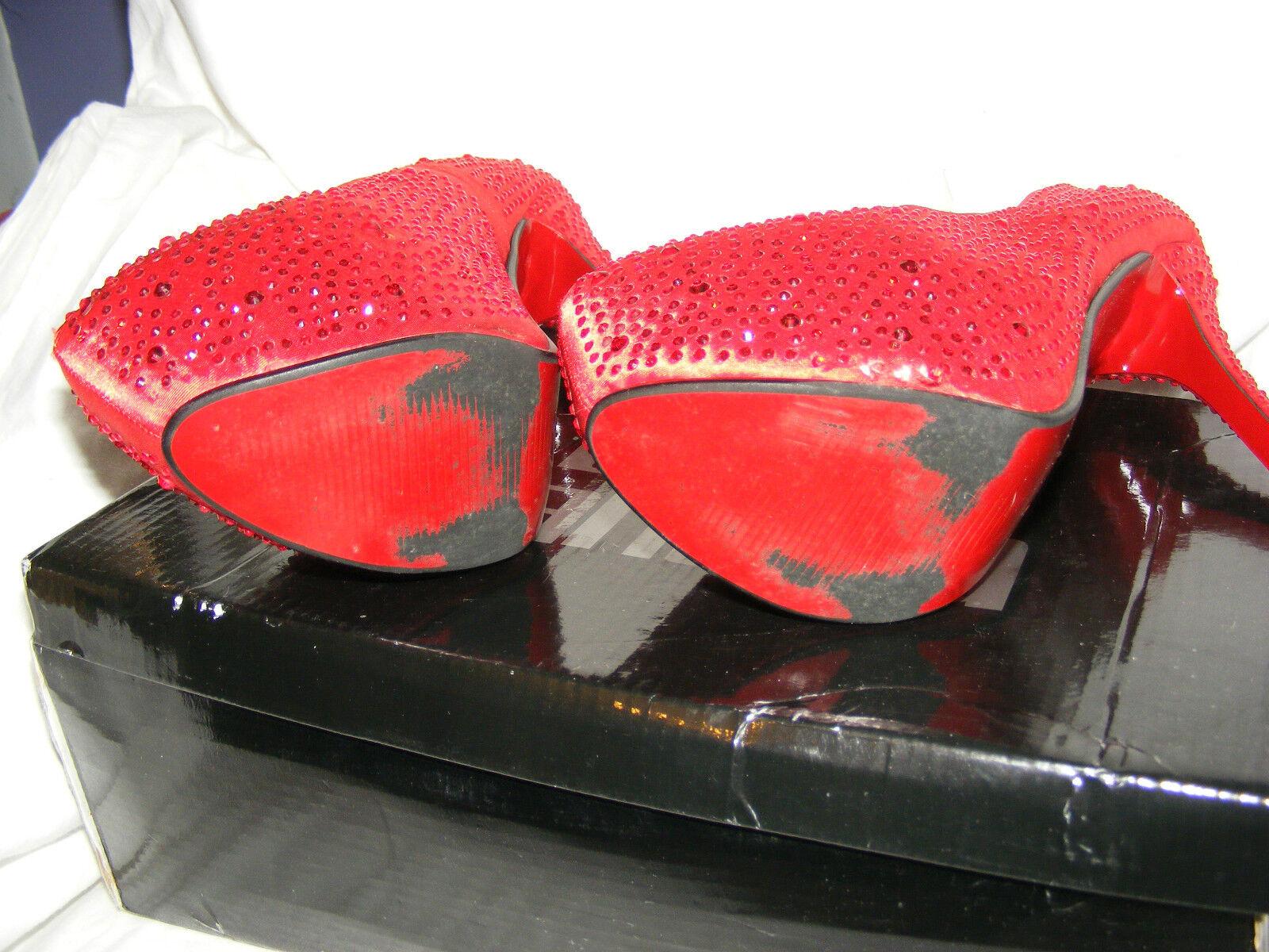 Blau BANANA PLATFORM ROT DIAMANTE CRYSTAL WOMEN'S PLATFORM BANANA STILETTO  Schuhe 41 UK 8 XMAS 765de3