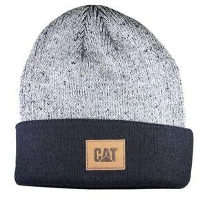 Caterpillar CAT Equipment Black Knit Cuff Winter Beanie Toboggan Patch Cap Hat