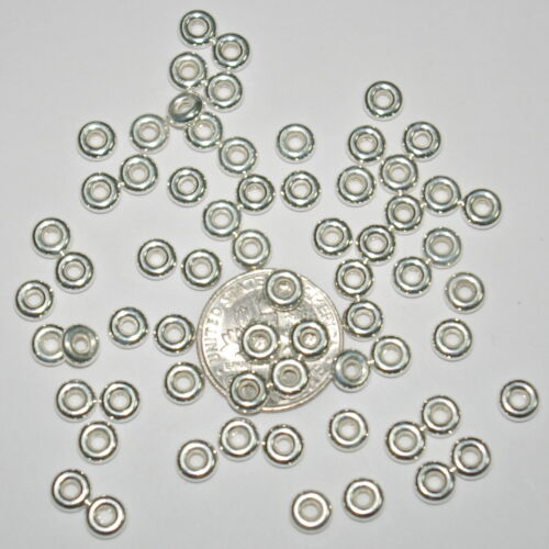 Real Sterling Silver 925 5mm RONDELLE SPACER BEADS Lot 200 pieces Genuine
