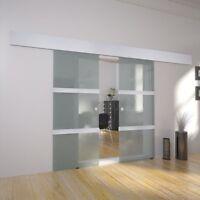 Sliding Internal Frosted Glass Door Double Room Divider Kit System Rails Home