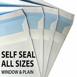 HIGH QUALITY White SELF SEAL ENVELOPES Plain & Window DL C5 C4 90gsm & 100gsm