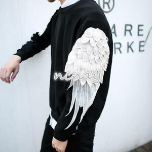 Mens-Embroidery-Slim-Fit-Neck-Wing-Sleeve-T-Shirt-Korean-Spring-Pullover-Top-New