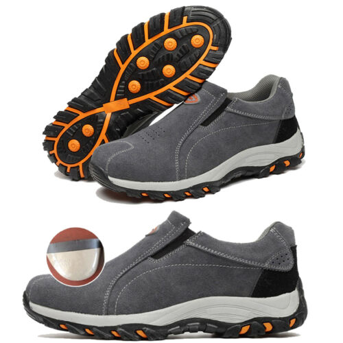 Mens Work Safety Shoes Suede Leather Proof Puncture Steel Toe Cap Casual Shoes