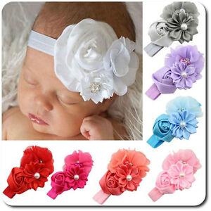 Haarband Doppel Blume Baby Mädchen Stirnband Kopfband Haarschmuck Perlen Strass Haarschmuck Kleidung, Schuhe & Accessoires