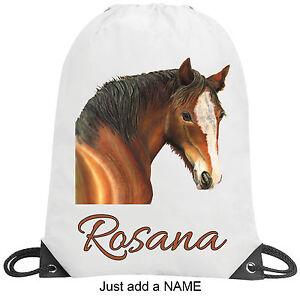 Pony-Horse-Personalised-School-Gym-Swimming-PE-Nursery-Sport-Drawstring-Bag-Gift