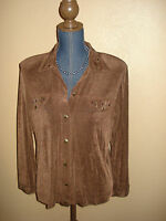 Slinky Brand Brown Button Down Long Sleeve Studded Travel Top Size S