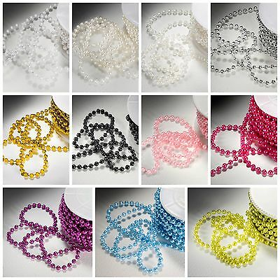 5mm PEARL BEADS ON STRING Sewing Cake Trim Wedding Bridal Craft Trimming