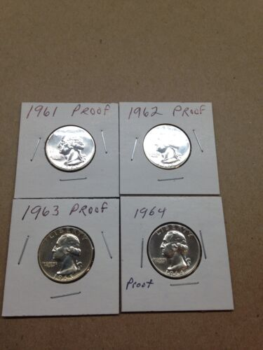 1961-1962-1963-1964 Proof Silver Quarters