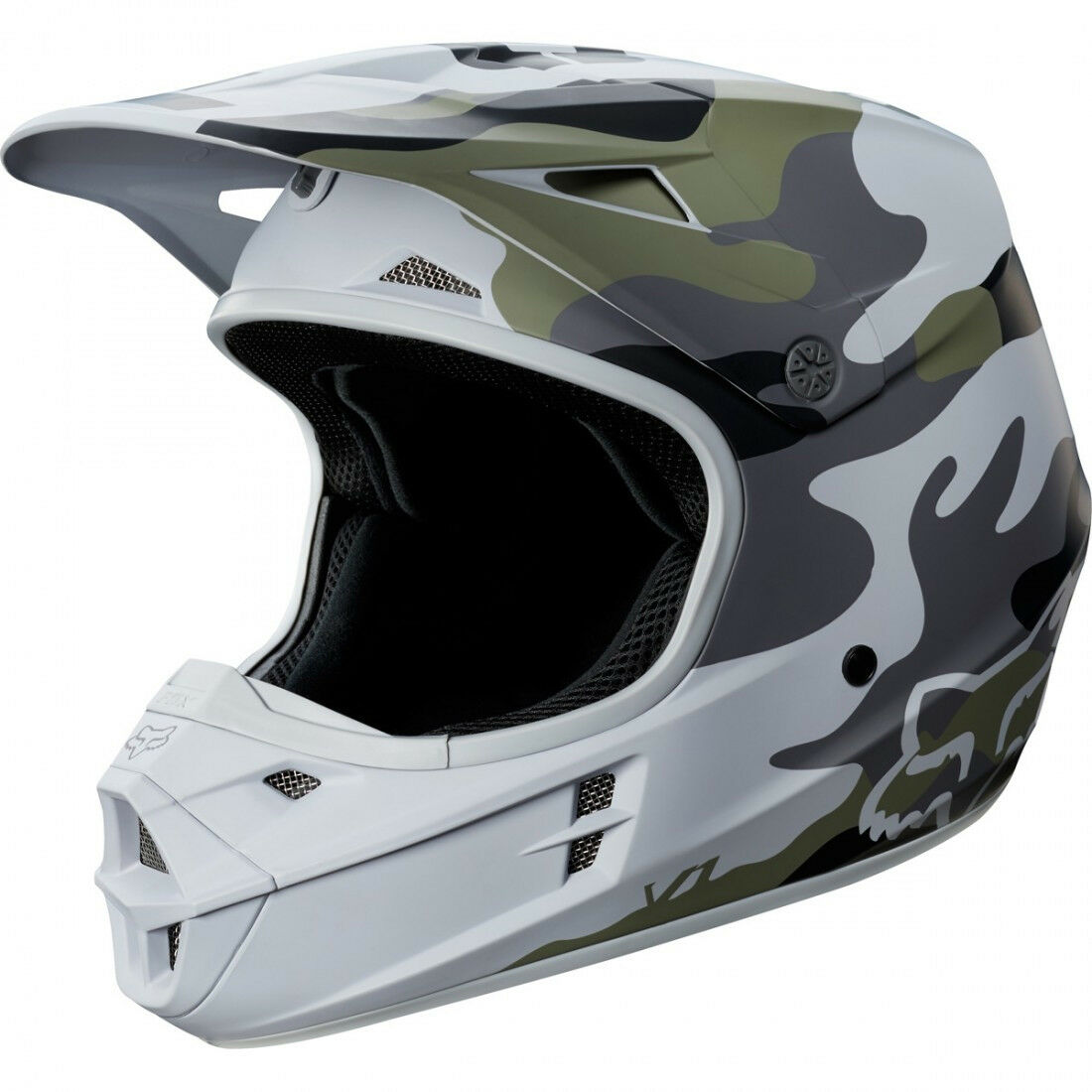 Youth Fox V1 Motocross Mx Helm Helm Helm - Tarnmuster Sonderotition Kinder Quad Bmx b9b2c2