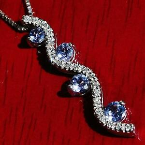14k-white-gold-pendant-1-00ct-tanzanite-diamond-amp-18-0-034-necklace-vintage-3-6gr