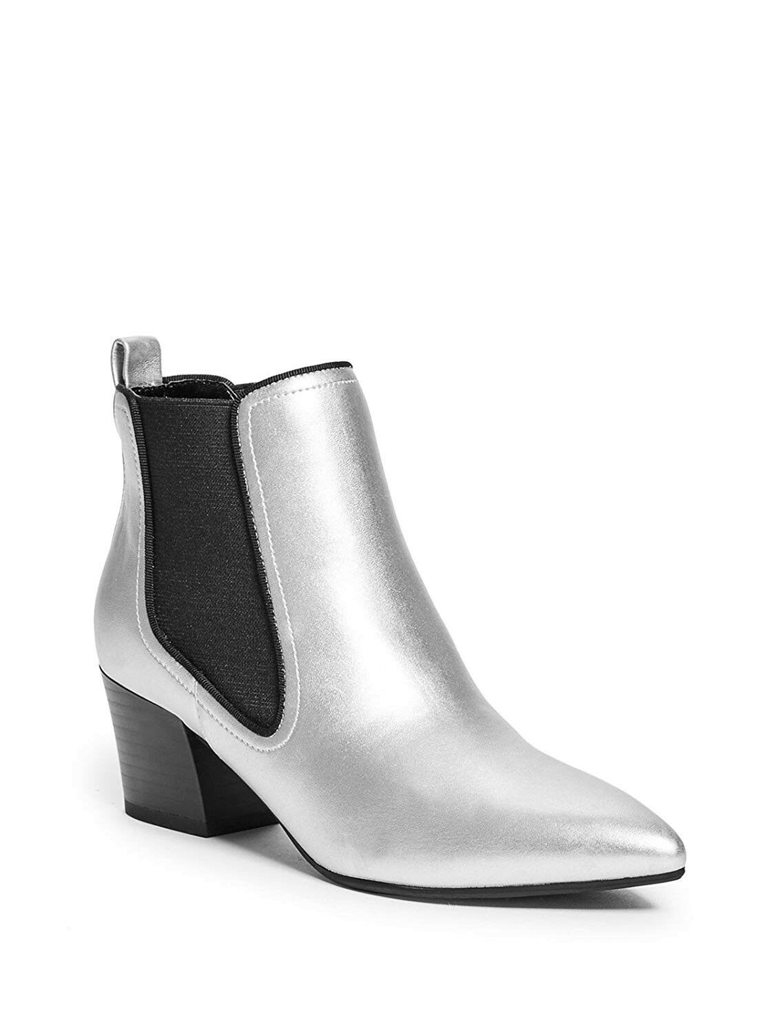 Guess Women's Stanford Silver Metallic Faux Leather Heeled Booties Size 6.5
