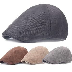 Trendy-Men-Baker-Lin-Coton-Casquette-Casquette-a-Visiere-conduite-beret-Golf-Flat-Hat