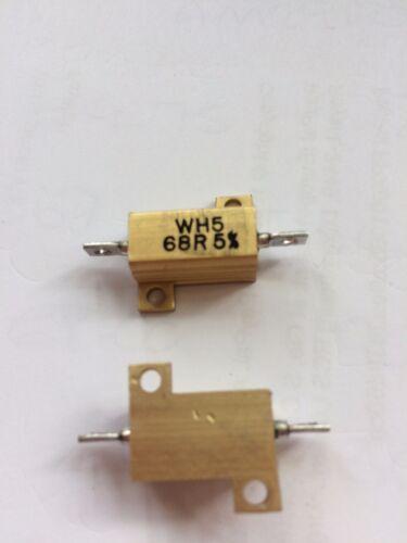 Resistori RESISTENZA assiale al piombo 68ohm 10 W 160 V ± 5/% WH5-68RJI 2pcs £ 6.50 Z1329