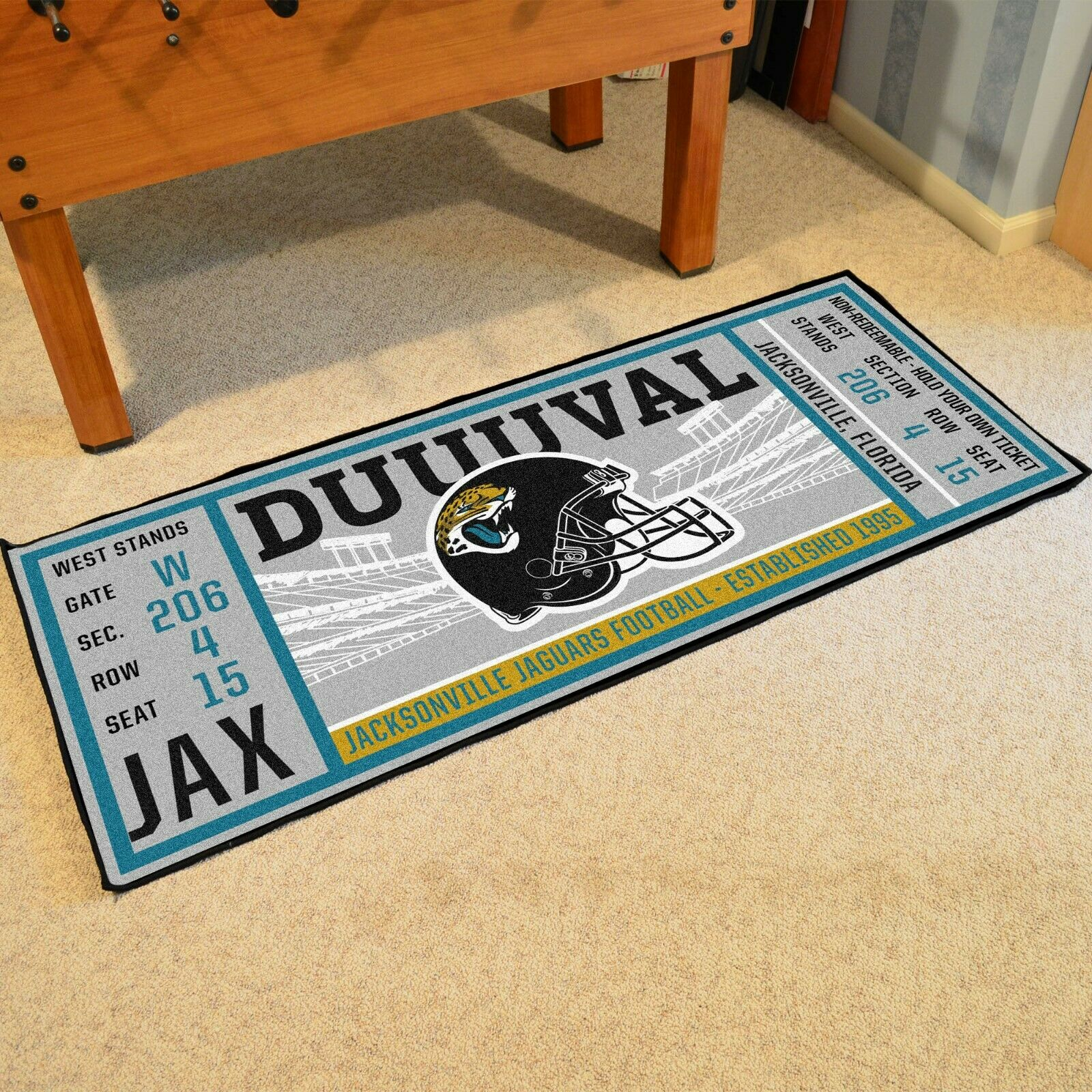 Jacksonville Jaguars 30 X 72 Ticket Runner Area Rug Floor Mat Nfl Fanmats For Sale Online Ebay