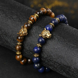 Charm-Men-039-s-Lava-Tiger-Eye-Gold-Leopard-Head-Beaded-Yogo-Stretch-Bracelets