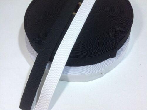 Elástico Tejido Plano Blanco y Negro 19 mm//3//4 pulgadas de ancho de grado premium vendedor de Reino Unido