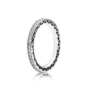 Authentic Hearts Of Pandora Sterling Silver Ring Taille 7-afficher Le Titre D'origine Ventes De L'Assurance Qualité