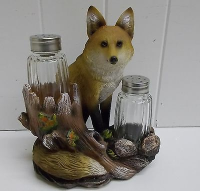 HD39725 FOXY SEASONS SALT PEPPER SHAKER DWK FOX STATUE FIGURINE DECORATION